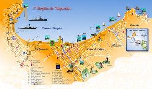 Passeio de ônibus turístico em Valparaíso: mapa