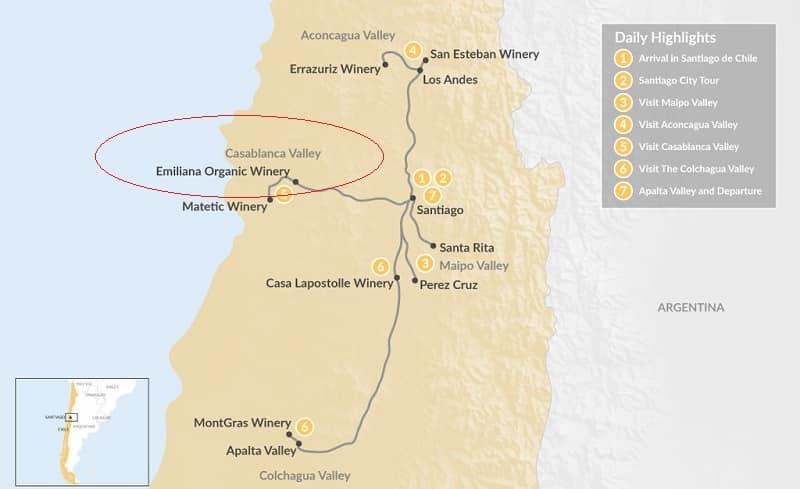 Mapa da vinícola Emiliana no Chile